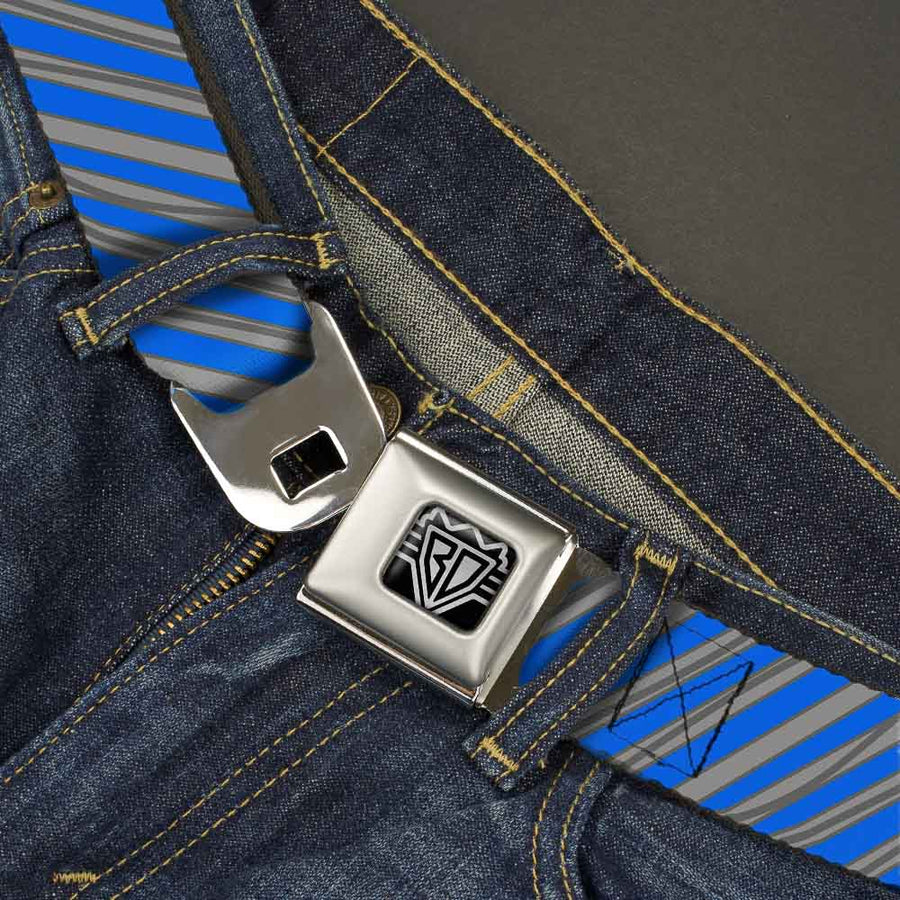 BD Wings Logo CLOSE-UP Full Color Black Silver Seatbelt Belt - Diagonal Stripes Scribble Gray/Blue Webbing