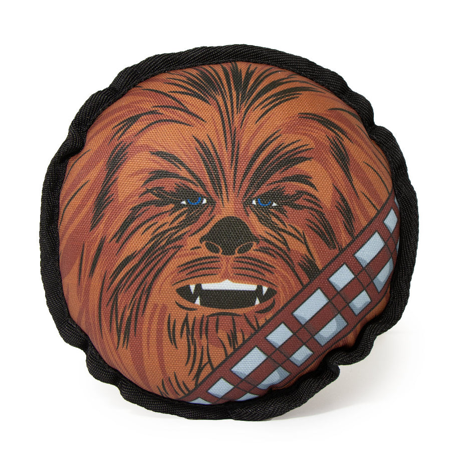 Dog Toy Ballistic Squeaker - Round Star Wars Chewbacca Face CLOSE-UP Brown