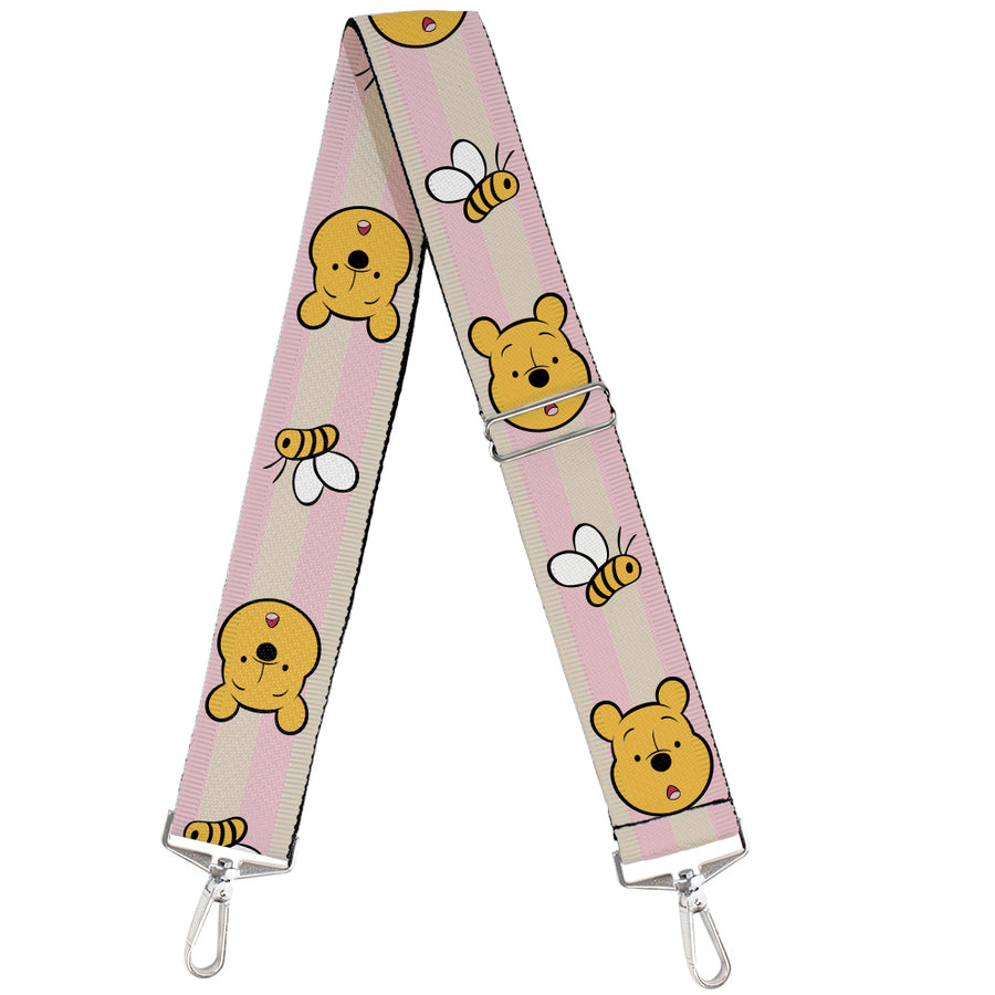 Purse Strap - Winnie the Pooh Surprised Face Bumble Bee Stripe Pink White