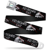 KEYBOARD CAT Logo White Full Color Seatbelt Belt - KEYBOARD CAT w/Ray Eyes Black/White/Red Webbing