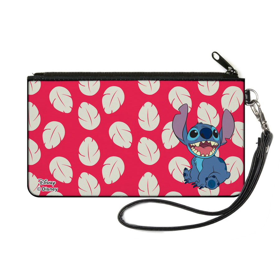 Canvas Zipper Wallet - SMALL - Lilo & Stitch Stitch Smiling Pose Lilo Dress Leaves Red Ivory
