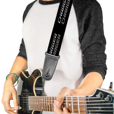 Guitar Strap - CHARGER Double Repeat Black Gray