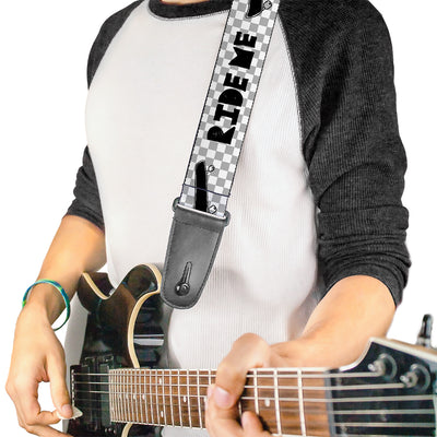 Guitar Strap - RIDE ME Skateboard w Mini Checker White Gray Black