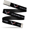 Chrome Buckle Web Belt - CORVETTE/C7 Logo Black/Silver/Red Webbing