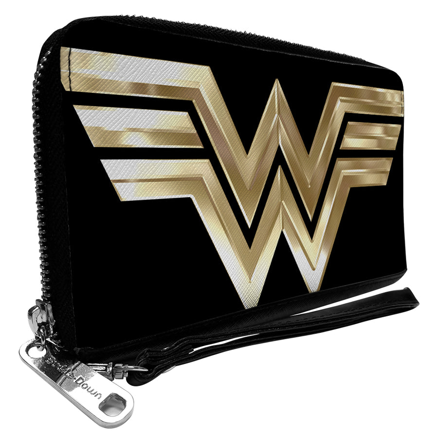 Women's PU Zip Around Wallet Rectangle - Wonder Woman 1984 WW Logo Black Golds
