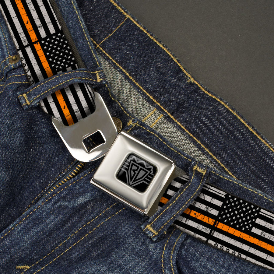 BD Wings Logo CLOSE-UP Black/Silver Seatbelt Belt - Thin Orange Line Flag Weathered Black/Gray/Orange Webbing