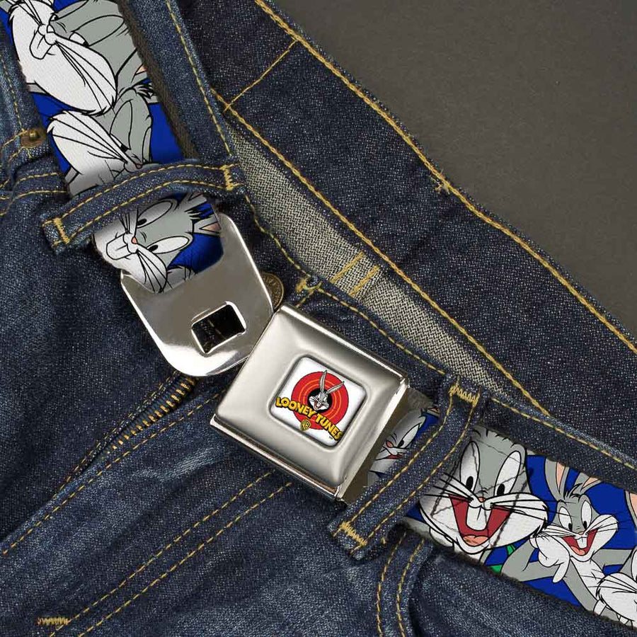 Looney Tunes Logo Full Color White Seatbelt Belt - Bugs Bunny CLOSE-UP Poses Blue Webbing