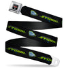 CARS 3 Emblem Full Color Black Silver Red Seatbelt Belt - Cars 3 JACKSON STORM Pose/STRIPE Black/Greens Webbing