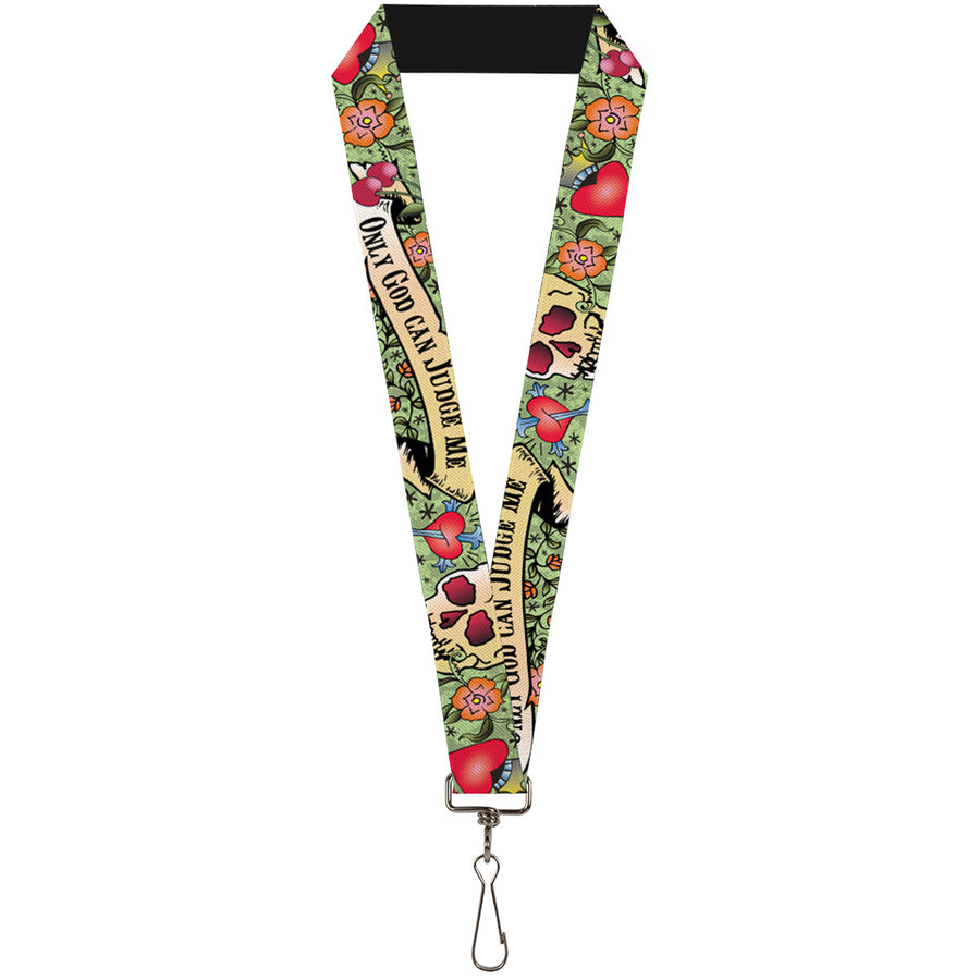 "Lanyard - 1.0"" - Only God Can Judge Me Green"