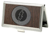 Business Card Holder - SMALL - Flash Logo Marquetry Black Walnut Metal