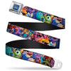 Monsters University Logo Full Color Blue White Seatbelt Belt - Monsters University Monsters Stacked Webbing
