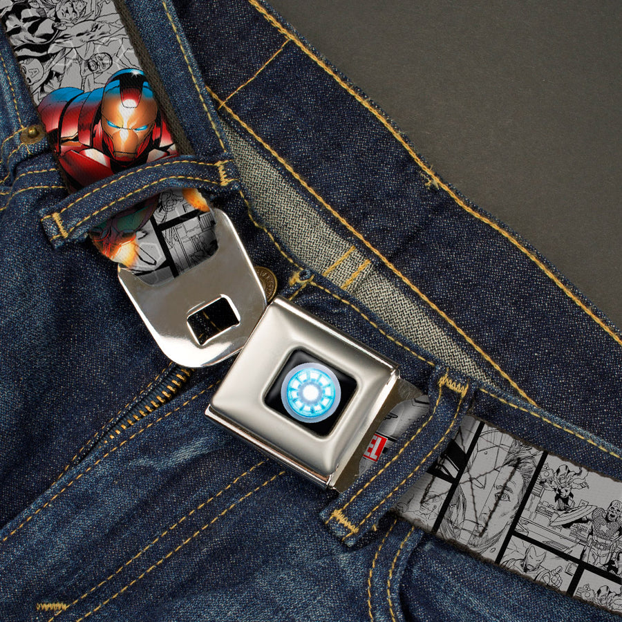 MARVEL UNIVERSE Iron Man Arc Reactor Full Color Seatbelt Belt - Iron Man 3-Action Poses/Avengers Comic Scene Blocks Grays/Black Webbing