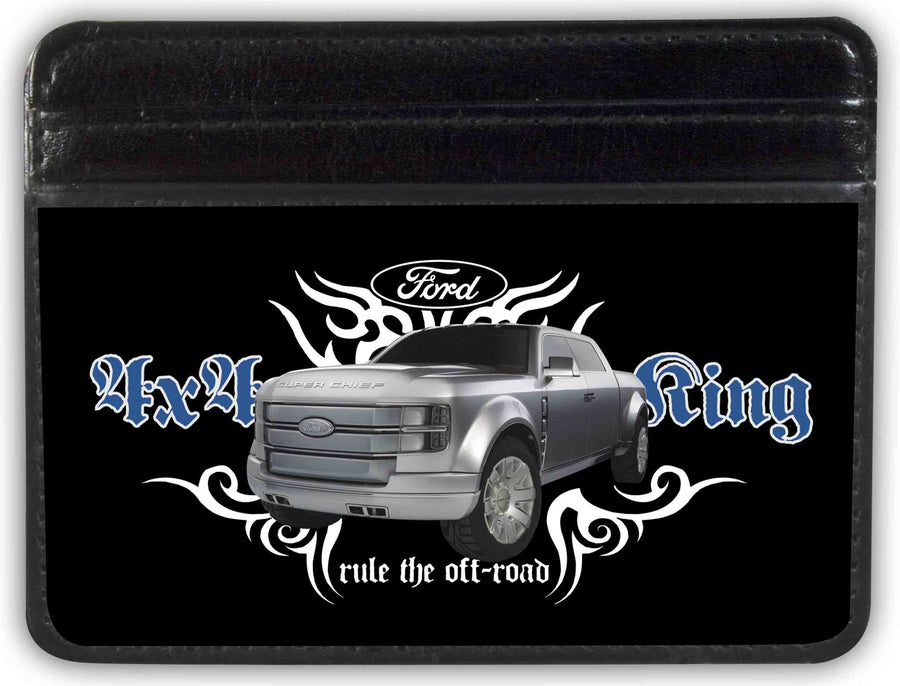 Weekend Wallet - FORD 4x4 TRUCKING-RULE THE OFF-ROAD Black White Blue Grays