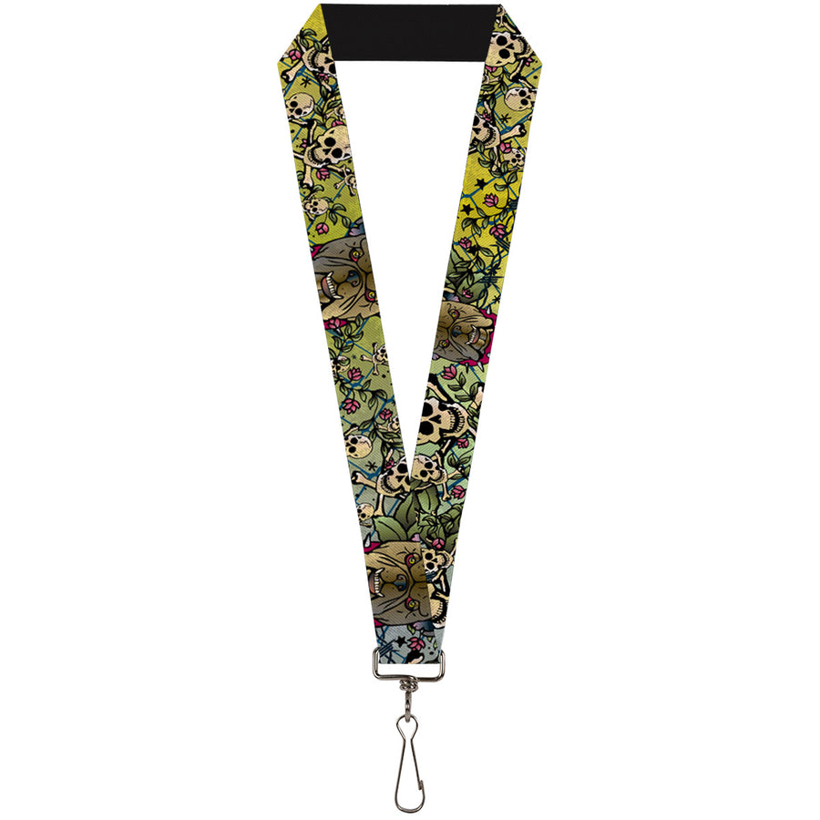 "Lanyard - 1.0"" - Trust No One CLOSE-UP Yellow Green Blue-S"