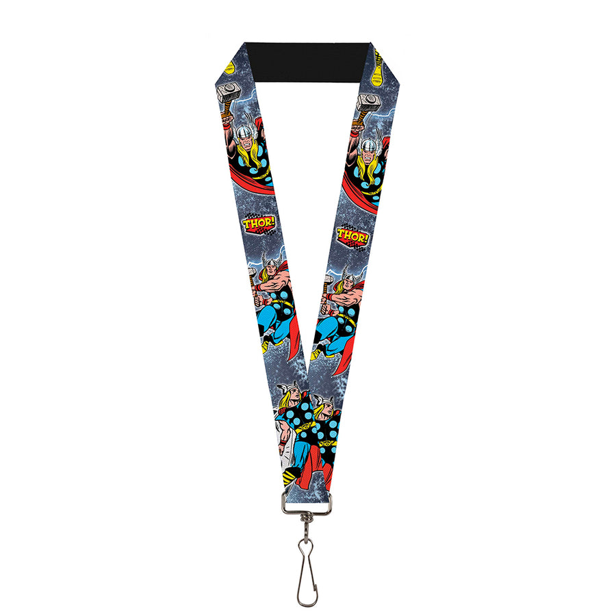 "MARVEL COMICS Lanyard - 1.0"" - THOR! Action Poses Pop Art Logo Space Dust"