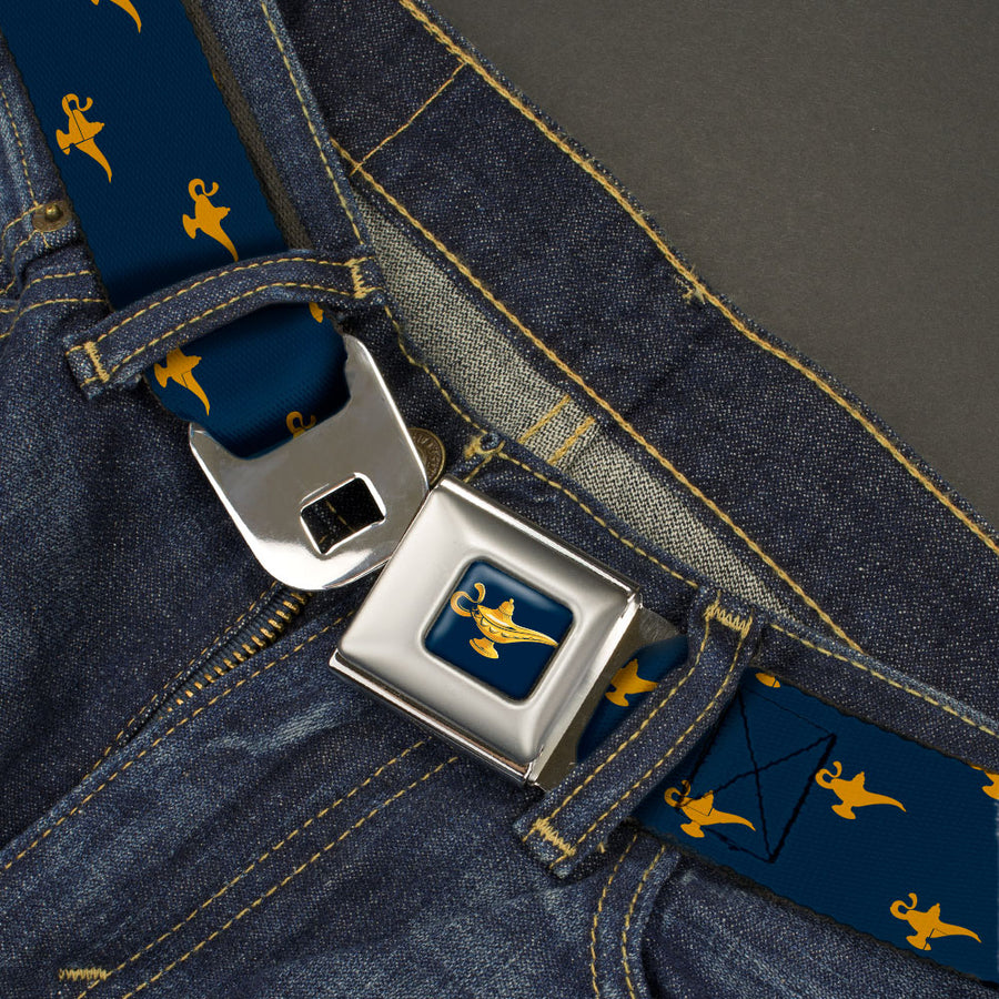 Aladdin 2019 Magic Lamp Full Color Navy/Golds Seatbelt Belt - Aladdin Genie Lamp Monogram Navy/Gold Webbing