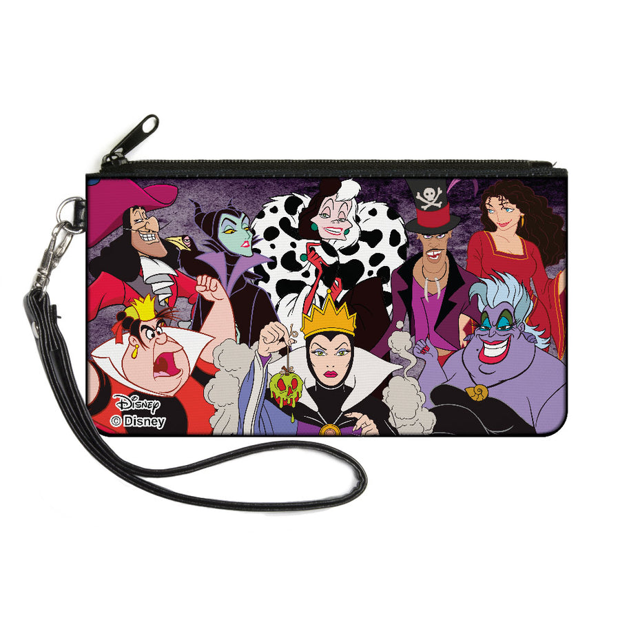 Canvas Zipper Wallet - SMALL - Disney 8-Villains Group Pose Purple Fade