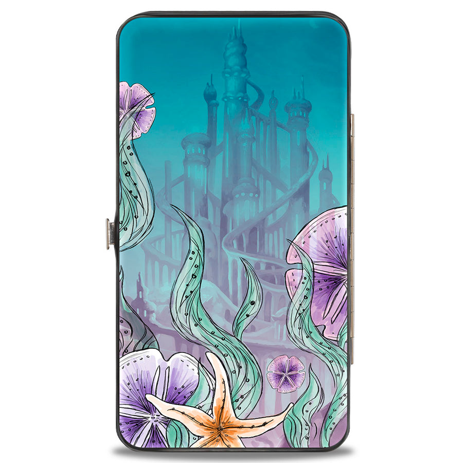 Hinged Wallet - The Little Mermaid Ariel Sketch3 Pose + King Triton's Castle Shells Kelp Blues Purples