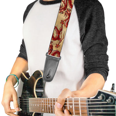 Guitar Strap - Dragons Tan