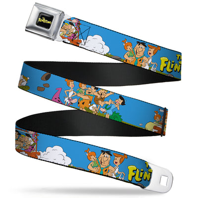 THE FLINTSTONES Logo Full Color Black Yellow Seatbelt Belt - The Flintstones and Rubbles Group Pose/Logo Blue Webbing