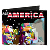 Canvas Bi-Fold Wallet - SEE AMERICA-Mount Rushmore Black White Red Multi Color