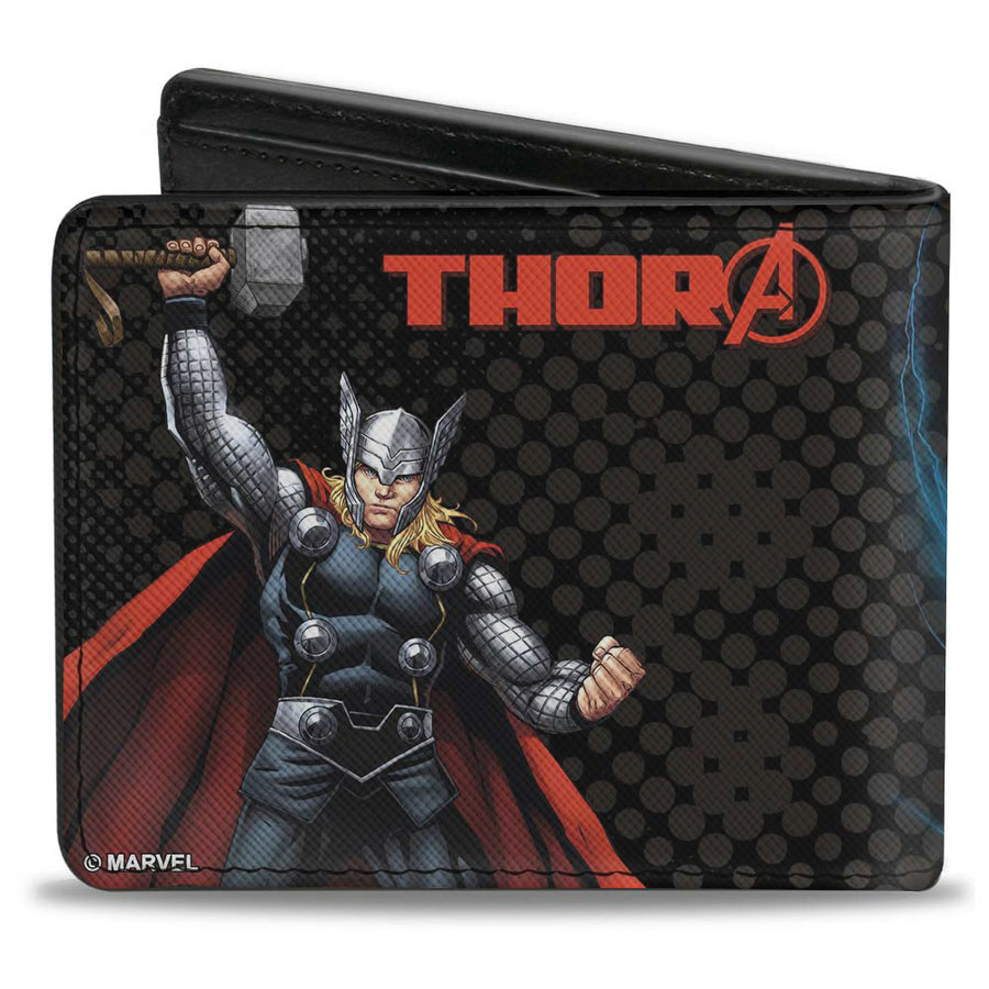 "MARVEL AVENGERS Bi-Fold Wallet - Avengers Thor Action Poses THOR ""A"" Logo Black Red"