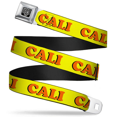 BD Wings Logo CLOSE-UP Full Color Black Silver Seatbelt Belt - CALI Yellow/Orange Webbing