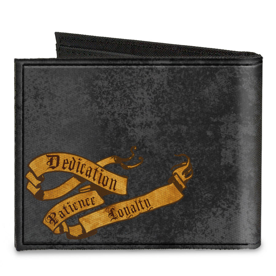 Canvas Bi-Fold Wallet - HUFFLEPUFF Badger Crest + DEDICATION PATIENCE LOYALTY Banner Grays Golds