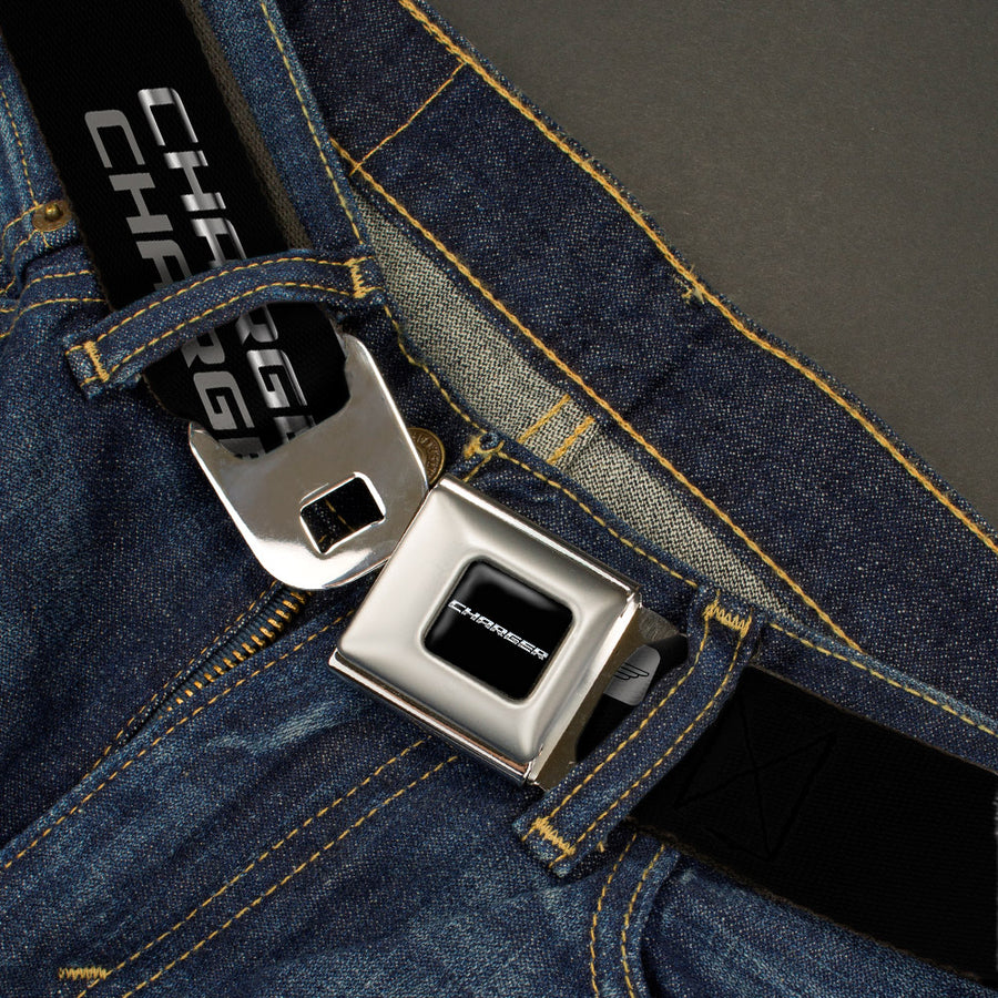 CHARGER Text Seatbelt Belt - CHARGER Double Repeat Black/Gray Webbing