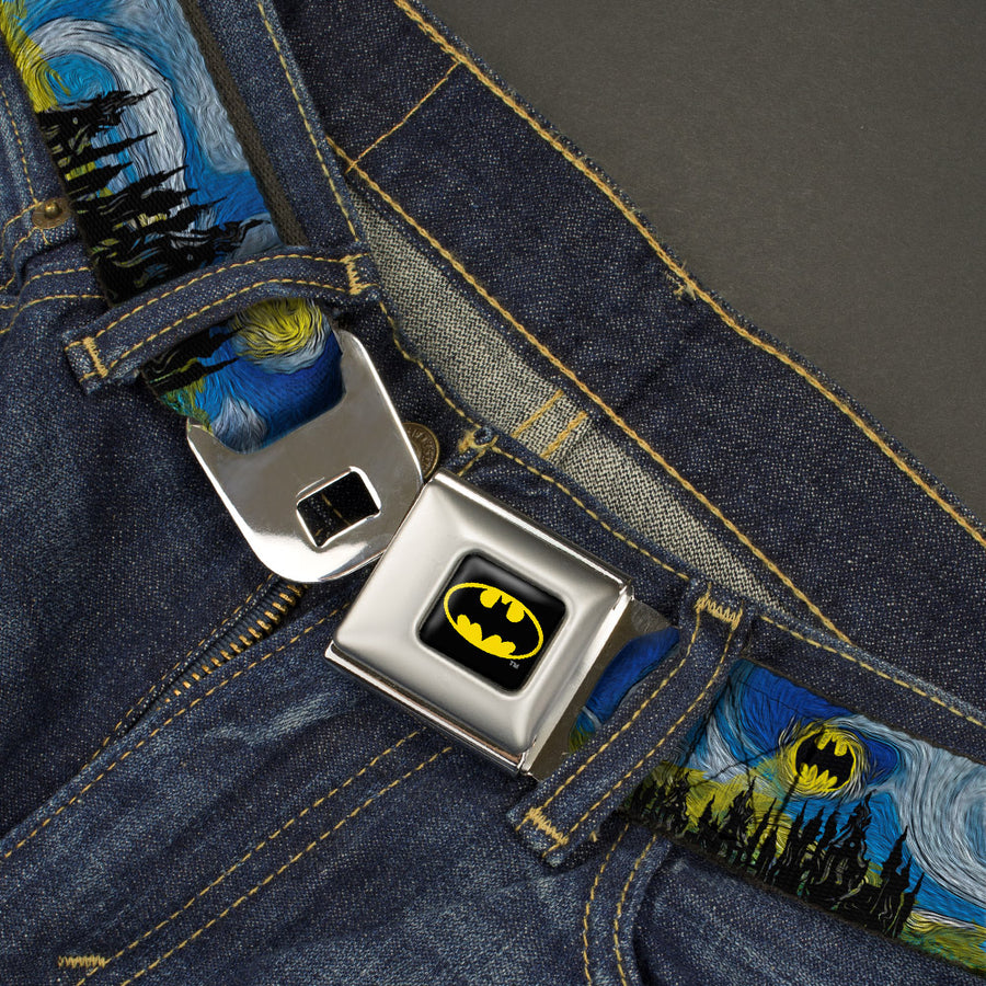 Batman Full Color Black Yellow Seatbelt Belt - Batman Dark Starry Night Webbing