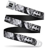 Batman Black Silver Seatbelt Belt - Batman Face/Bat Shield Sketch White/Black Webbing