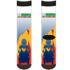 Sock Pair - Polyester - SEE AMERICA-ZION NATIONAL PARK Mt. Carmel Highway Scene Blue Gold Red Navy