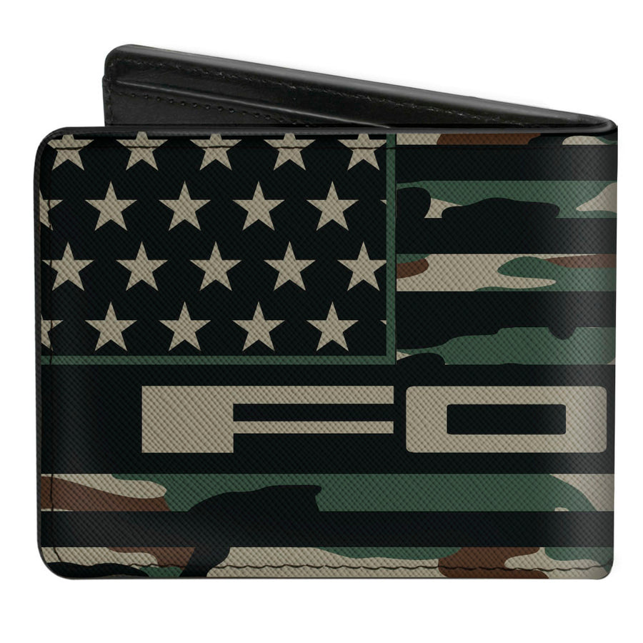 Bi-Fold Wallet - FORD Script Americana Flag Weathered Camo Olive Black Tan