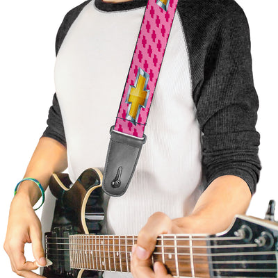 Guitar Strap - Chevy Gold Bowtie w Logo PINK