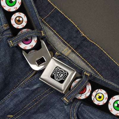 BD Wings Logo CLOSE-UP Full Color Black Silver Seatbelt Belt - Eyeballs Black/Multi Color Webbing