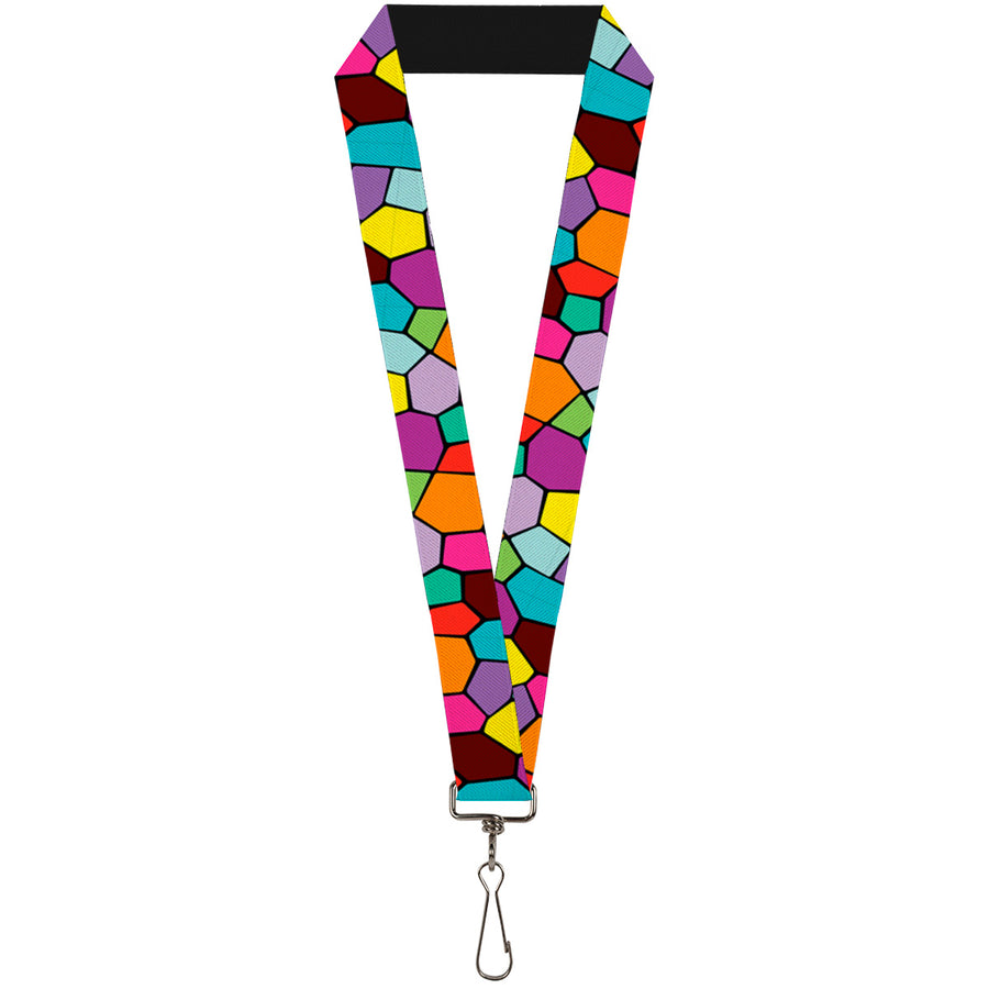 "Lanyard - 1.0"" - Stained Glass Mosaic2 Multi Color Navy"