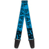 Guitar Strap - Grateful Dead Text w Skull & Roses Turquoise