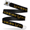 Pontiac Firebird Logo Full Color Black Golds Seatbelt Belt - Pontiac FIREBIRD/Logo Black/Grays/Golds Webbing