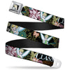 Tinker Bell Sketch Full Color Black Seatbelt Belt - Tinker Bell Floral Collage CLASSY AND SASSY Webbing