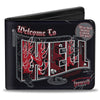 Bi-Fold Wallet - Supernatural WELCOME TO HELL Flames Skulls Chains Black Gray Red White