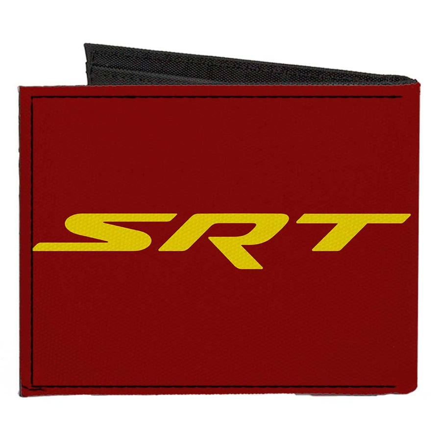 Canvas Bi-Fold Wallet - Dodge Hellcat Logo + SRT Burgundy Yellow