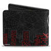 MARVEL UNIVERSE Bi-Fold Wallet - Silk #2 Shooting Web Cover Pose Spider Webs Skyline Black Gray Red