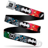 DC Round Logo Black/Silver Seatbelt Belt - Justice League Elite Forces Superheroes Pose/Logos Webbing