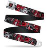 Harley Quinn Diamond Full Color Black Red Seatbelt Belt - Harley Quinn Poses/HAHAHA!/Diamonds/Hearts Halftone White/Black/Red Webbing