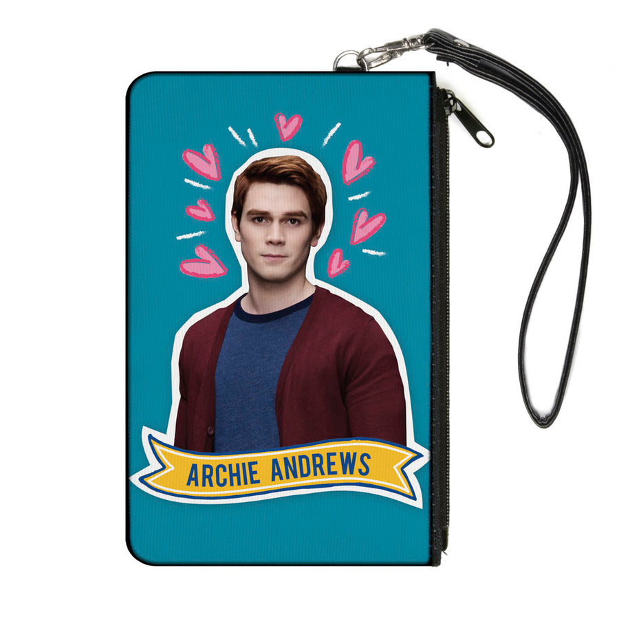 Canvas Zipper Wallet - SMALL - Riverdale ARCHIE ANDREWS Pose Hearts Doodle Blue White Pinks