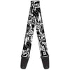 Guitar Strap - JUSTICE LEAGUE Superheroes Retro Pop White Black