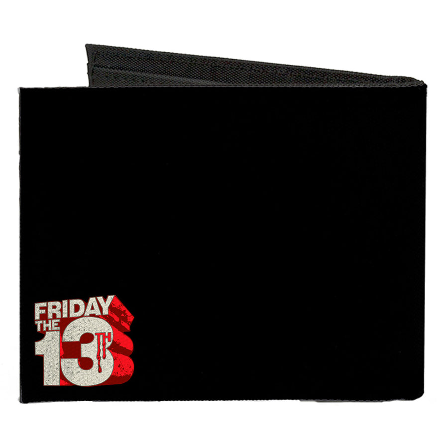Canvas Bi-Fold Wallet - Jason Mask Quotes Collage + FRIDAY THE 13TH Logo Black Ivory Reds