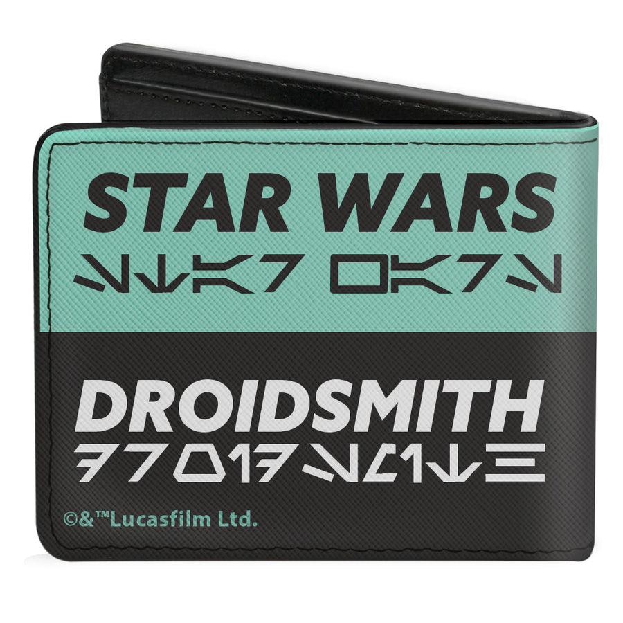 Bi-Fold Wallet - Star Wars BABU FRIK Pose + STAR WARS DROIDSMITH Aurebesh Checker Teal Black White