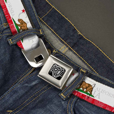 BD Wings Logo CLOSE-UP Full Color Black Silver Seatbelt Belt - CALIFORNIA Bear/Star/Crackle Stripe White/Gray/Red Webbing