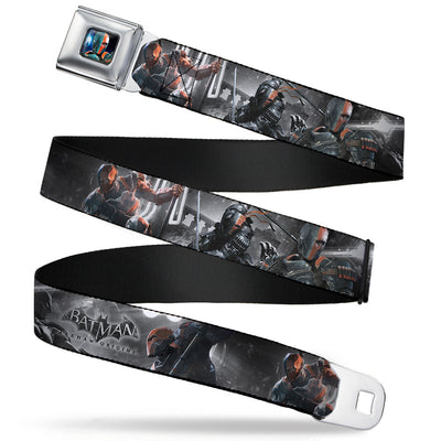 Arkham Origins Deathstroke Face CLOSE-UP Full Color Seatbelt Belt - BATMAN ARKHAM ORIGINS Deathstroke 3-Poses/Batman Battle Scene Grays/Reds Webbing